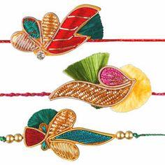 Zardozi Rakhi - Set of 3: Exclusive high quality set of 3 zardozi rakhis artistically crafted with zardozi work, color beads and kundan work. Costs Rs 526/- http://www.tajonline.com/rakhi-gifts/product/rdr61/zardozi-rakhi-set-of-3/?aff=pinterest2013/