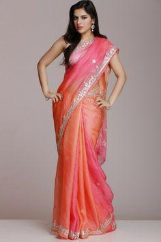 Peach Pink Kota Silk Saree With Silver Gota Patti Work