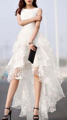 White, Floral Print, Gauze Panel, Multi Layer, Sleeveless, Hi-lo Dress