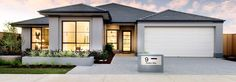 Choose your dream home design now with Dale Alcock. Bungalow House Design, House Front Design, Modern House Design, Contemporary House Plans, Modern House Plans, Dream House Plans, House Floor Plans, White Stucco House, Hip Roof Design