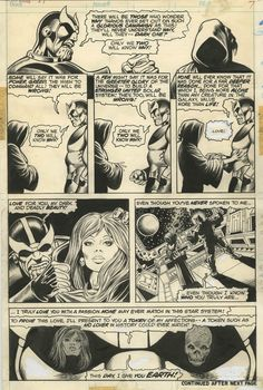CAPTAIN MARVEL#31,PAGE 7(1974)original art by Jim Starlin. THANOS IN EVERY PANEL WITH DEATH!