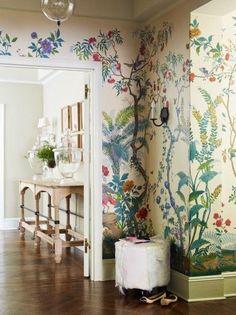busy botanical mural for a small wall, entryway, bathroom, hall
