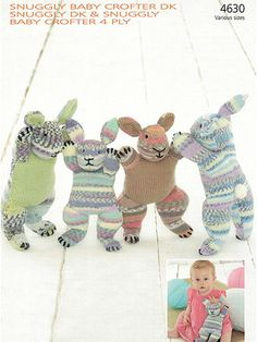 """Knitting Pattern Bunny Buddies - #ad Colorful bunny rabbit softie toy in 2 designs and 2 sizes. Small Bunny: 11 3/4""""H. Great with multi-color or self-striping yarn. Large Bunny: 14 3/4""""H tba"""
