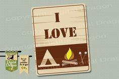 I Love Camping Home Decor Print. $8.00, via Etsy.