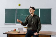Happy Male Teacher Throwing Apple Classroom Stock Picture , #sponsored, #Teacher, #Throwing, #Happy, #Male #AD