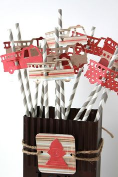 Fire Truck Straws: This paper really would set off a girl's birthday party!