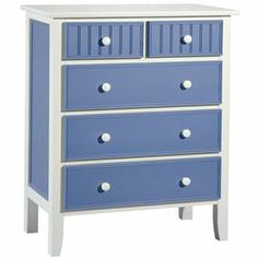 """5-drawer chest with paneled details in Bahama blue. Product: ChestConstruction Material: Wood and veneerColor: Bahama blueFeatures: Five drawersDimensions: 40"""" H x 33"""" W x 18"""" D"""