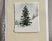 Original Miniature Watercolor Painting, Winter Tree with Snow - Holiday Card