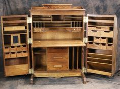 Wooten reproduction oak desk cabinet doors on LiveAuctioneers Workshop Storage, Craft Room Storage, Desk Cabinet, Cabinet Doors, Home Furniture, Furniture Design, Painted Furniture, Fly Tying Desk, Campaign Furniture