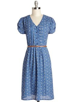 Take to the Wind Dress in Blue Paisley - Blue, Black, White, Paisley, Buttons, Belted, Casual, A-line, Shirt Dress, Short Sleeves, Better, V...