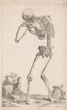 Jan Wandelaar | Landschap met skelet, Jan Wandelaar, 1725 | Een menselijk skelet met een gebogen rug, van achteren gezien, in een landschap. Rechtsonder een antieke vaas waarop een opschrift in het Latijn.