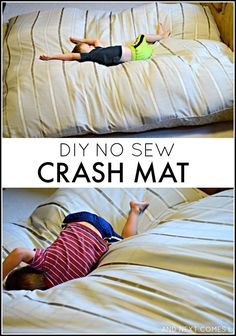 How to make a DIY no sew crash mat for kids - great for kids with autism and/or sensory processing disorder! from And Next Comes L Homemade crash pad for kids: find out how to make a crash mat for kids using materials you likely have at home Sensory Tools, Sensory Diet, Sensory Issues, Sensory Therapy, Diy Sensory Toys, Sensory Bags, Sensory Bottles, Sensory Swing, Sensory Motor
