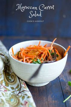 Coarsely grated carrot and oranges with a spicy-sweet dressing. This Moroccan Carrot Salad is a refreshing and delicious dish to accompany any meal.