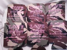 Camo Wedding Koozie Sayings favors Design by odysseycustomdesigns