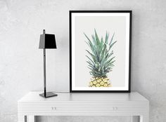 Pineapple Print, Pineapple Wall Art, Pineapple Poster, Tropical Printable Art, Pineapple Wall Print, Wall Decor, Watercolor Pineapple, Print