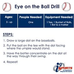 Learning to hit off a tee? Here is a simple drill to help keep your eye on the ball. #tball #youthsports #i9Sports