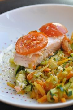 Pavé de saumon sur lit de légumes - Blog cuisine avec du chocolat ou Thermomix…