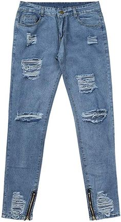 f61d0e8b Auied Mens Skinny Stretch Denim Pants Distressed Ripped Freyed Slim Fit  Jeans Trousersmen'S Hole Stretch Zipper Feet Jeans