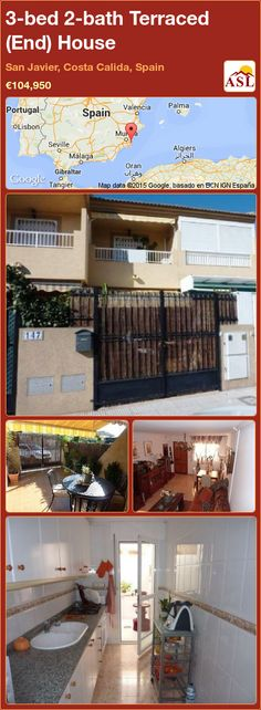 Terraced (End) House for Sale in San Javier, Costa Calida, Spain with 3 bedrooms, 2 bathrooms - A Spanish Life Valencia, Storage Area, Terrace, Costa, Portugal, Lounge, Restaurant, Patio, San
