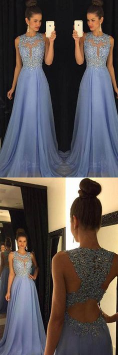 Blue Prom Dresses Elegant Evening Dresses Beaded Party Dresses PG376