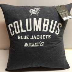 Columbus Ohio Hockey T-Shirt Pillow 16x16 Upcycled One of a Kind by Teecycleshop on Etsy https://www.etsy.com/listing/495669284/columbus-ohio-hockey-t-shirt-pillow