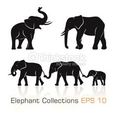 Vector Art : Set of black & white elephants in different poses
