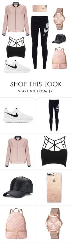 """I´m gorgeous even if I go work out"" by lucieschramek on Polyvore featuring NIKE, Miss Selfridge, WithChic, Casetify, MICHAEL Michael Kors and DKNY"