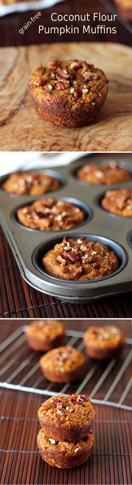 Grain-free Coconut Flour Pumpkin Muffins - this delicious and healthy muffin recipe is gluten free, paleo and low carb with the use of coconut flour. Pumpkin puree and spice give the muffins a great seasonal flavor (delicious snacks coconut flour) Paleo Dessert, Low Carb Desserts, Healthy Sweets, Gluten Free Desserts, Dessert Recipes, Appetizer Recipes, Paleo Appetizers, Dinner Dessert, Healthy Sugar