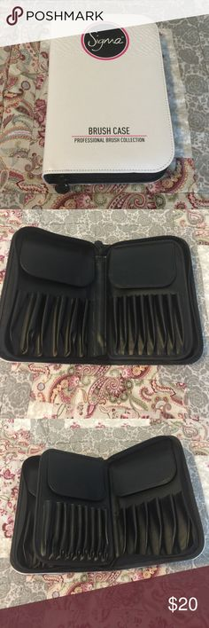 Sigma Brush Case Sigma Brush Case from the Professional Brush Collection in Superb Condition! Stark clean white case holds up to 29 brushes and includes protective flaps to cover brush heads. No Trades or Holds! Sephora Makeup Brushes & Tools