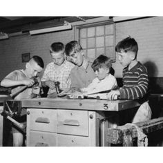 Five children making craft products in an arts and crafts class Canvas Art - (18 x 24)