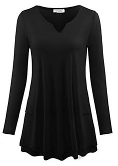 97737bf47e0 YaYa Bay Womens Long Sleeve Round Collar V Neck Open ALine Tunic Top -- For  more information