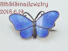 Sterling Jewelry, Sterling Silver, Butterfly Pin, Brooch Pin, Norway, Enamel, Facebook, Twitter, Blue
