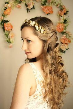 Greek Goddess Flower Crown Laurel Leaf Headpiece by AnnaMarguerite, $150.00