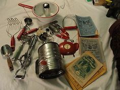 old vintage lot collection kitchen retro utensils decor books red green handle
