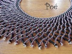 Poé gyöngyei Beaded Collar, Collar Necklace, Beaded Necklace Patterns, Beaded Jewelry, Necklace Tutorial, Seed Beads, Beading, Beadwork, Jewelery