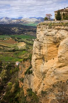 Andalusian landscape with high steep rock in Ronda, Andalucia - Spain