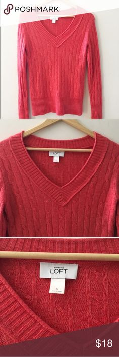 5/$25 Loft soft cable knit v neck Pretty orange red soft knit v neck from Loft. Cable knit. Color is absolutely gorgeous (please note it may vary based on screen viewed). Some mild pilling under the arms please see pic for details. Nice gently worn condition. Sz small. C1 LOFT Sweaters V-Necks