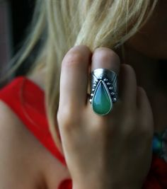 Summer Rain - Chrysoprase Sterling Silver Ring