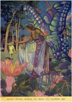 Elizabeth Shippen Green - Titania, the Queen of the fairies, with butterfly wings, in Midsummer Night's Dream.