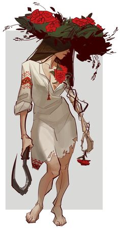 Woman concept art by gewska. I like this art style because of the woman's covered face and that the rose goes all the way her hand and the hand is bony.