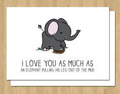 Valentine Card Funny Elephant Love Anniversary Wedding By Breavie, $4.00