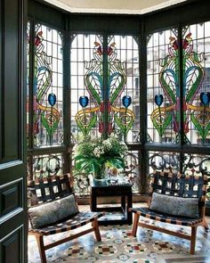 Beautiful stained glass and tile. Wow--