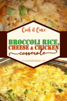 Broccoli, Rice, Cheese and Chicken Recipe, This is a delicious twist to broccoli, rice, and cheese casserole, and is VERY easy to make. #broccoli #rice #cheese #chicken #casserole #delicious #dinnerrecipe Slow Cooker Recipes, Crockpot Recipes, Chicken Recipes, Cooking Recipes, Casserole Dishes, Casserole Recipes, Chicken Broccoli Casserole, Chicken Divan, Broccoli Bake