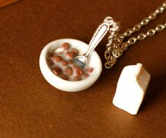 Polymer clay miniature food cereal bowl and milk via Etsy