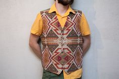 Mens vest vintage  90's tan /beige  orange  tribal by Sunnylizard, $22.00