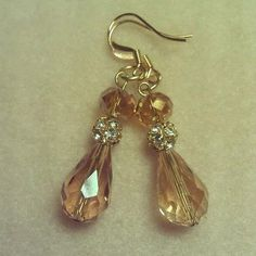 Champagne+dangle+sparkle+beaded+earrings+by+LilaRoseJewelry,+$28.00