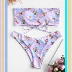 Angel Print Lace Up Bandeau Bikini Set. Matching bottom has a traditional cut to flatter your figure Bikini Sets, Baby Bikini, Bandeau Bikini Set, The Bikini, Bikini Swimwear, Floral Bikini, Sauvage Swimwear, Modest Clothing, Girl Clothing