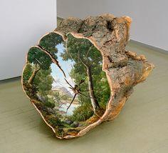Paisagens Pintadas em Troncos de Árvores Cortadas Nos Lembra que Não Devemos Menosprezar a Natureza