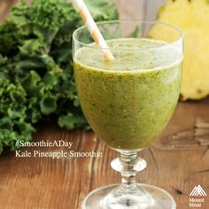 #SmoothieADay - Kale Pineapple Smoothie:  2 packed cups chopped kale leaves 1 cup fresh or frozen pineapple 1 banana 1/2 cup fresh or frozen mango (you can also use peaches, or omit this ingredient all together) 1/2 cup pineapple juice 1 cup unsweetened almond milk  #HealthyRecipes #HealthyFood #EatClean #EatingClean #CleanEating #cleanse #foodie #recipe #smoothie #SmoothieRecipe #HealthySmoothie #breakfast #snacks #HealthySnacks