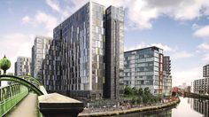 """Downtown Manchester Apartments by the banks of river Irwell. Downtown Manchester is a premier riverfront Manhattan-inspired residential apartments with """"hotel-style"""" facilities. It is a rare 999 years leasehold development by Mcgoff. For more information on Downtown Manchester, please visit: http://www.buypropertysg.com/united-kingdom/manchester/downtown-manchester-apartments/"""